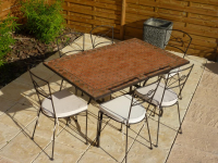 Table jardin mosaïque en fer forgé Table jardin mosaique rectangle 140cm en Terre cuite Losanges Argile cuite