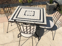 Table jardin mosaïque en fer forgé Table jardin mosaique ovale 400cm (table rectangle plus table carrée plus consoles) Céramique Blanche 3 lignes en Ardoise