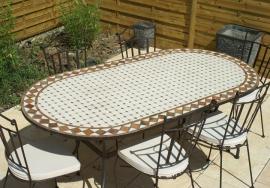 Table de jardin mosaique rectangulaire pas cher - ste hono