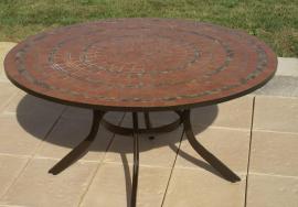 Table jardin mosaique ronde 110cm c ramique blanche losange c ramique bleue table jardin mosa que - Table jardin fer forge ronde caen ...