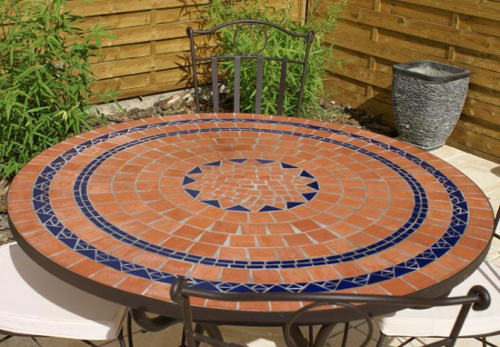 Table jardin mosaique ronde 110cm terre cuite 3 cercles bleue table jardin mosa que for Achat table de jardin mosaique