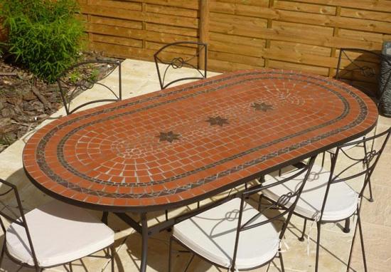 table jardin mosaique ovale 200cm terre cuite 2 cercles et 3 toiles argile cuite table jardin. Black Bedroom Furniture Sets. Home Design Ideas