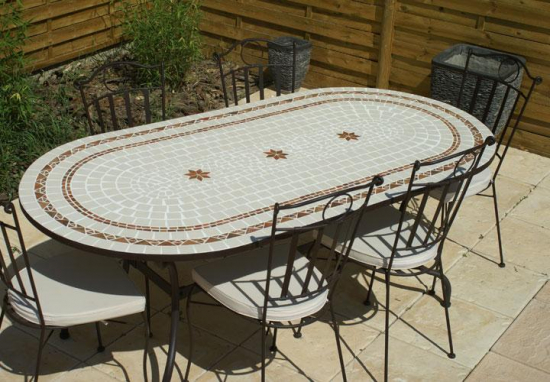 table jardin mosaique ovale 200cm c ramique blanche 2 cercles et ses 3 toiles argile cuite. Black Bedroom Furniture Sets. Home Design Ideas