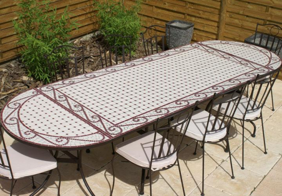 Table jardin mosaïque en fer forgé Table jardin mosaique ovale 300cm (table rectangle plus consoles) Céramique Blanche et ses Arabesques en Céramique Rouge