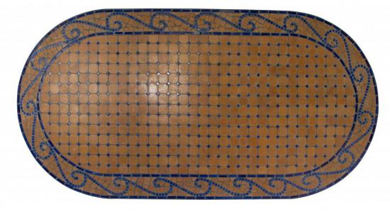 table jardin mosaique ovale 200cm terre cuite et arablesques c ramique bleue table jardin mosa que. Black Bedroom Furniture Sets. Home Design Ideas