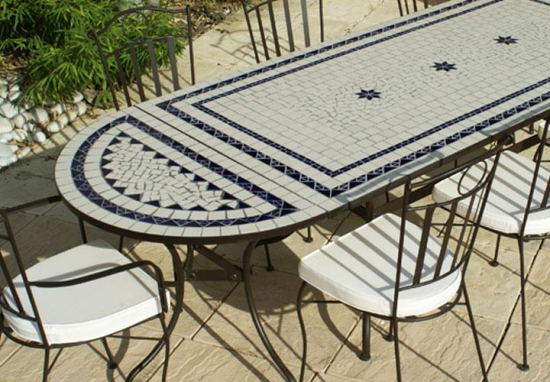 Table jardin mosaique ovale 230cm table rectangle plus consoles c ramique blanche 2 lignes et for Achat table de jardin mosaique