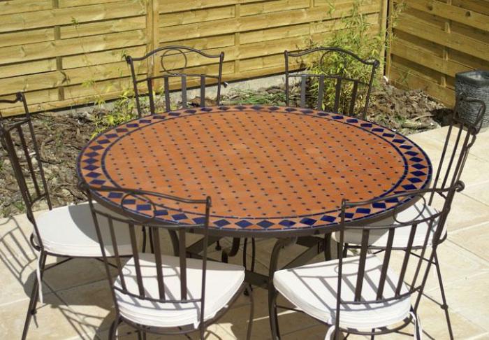 table jardin mosaique ronde 130cm terre cuite et losanges c ramique bleue table jardin mosa que. Black Bedroom Furniture Sets. Home Design Ideas