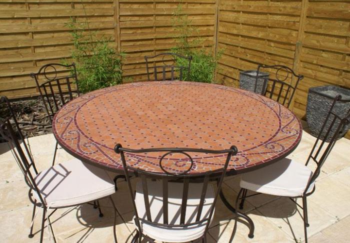 Table jardin mosaique ronde 150cm Terre cuite Arabesque Rouge ...