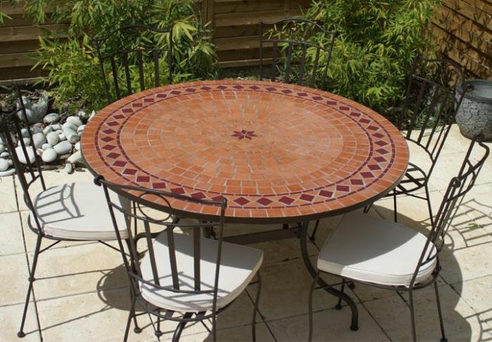 Table jardin mosaique ronde 150cm Terre cuite losange et 1 étoile ...