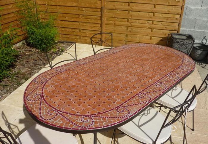 Emejing table de jardin mosaique ovale gallery awesome for Table exterieur jardiland