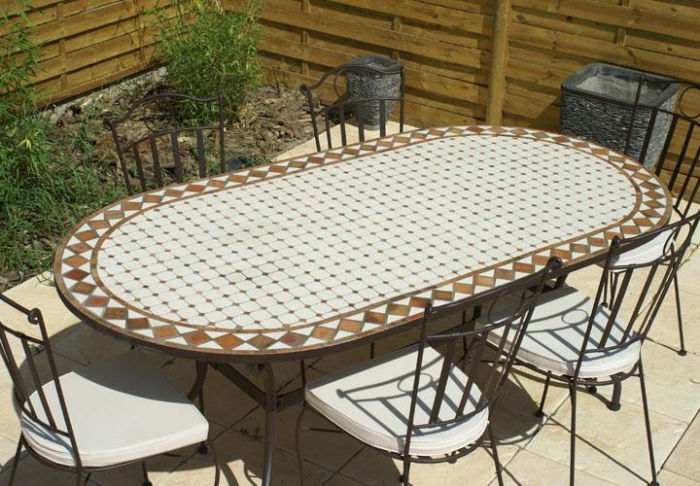 Table jardin mosaique ovale 200cm c ramique blanche et for Salon de jardin blanc carrefour