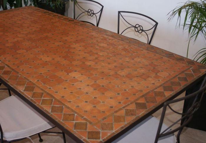 table jardin mosaique rectangle 200cm terre cuite et losanges