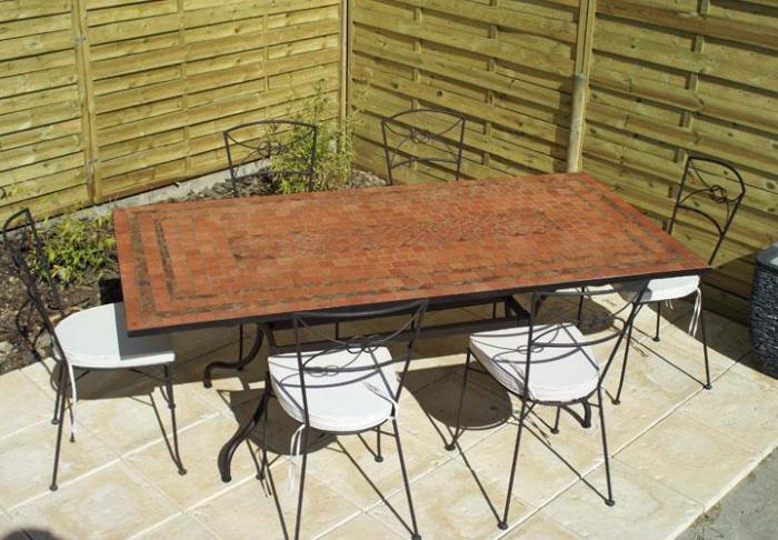 Table Jardin Mosaique Rectangle 200cm Terre Cuite 3 Lignes Argile Cuite Table Jardin Mosa Que
