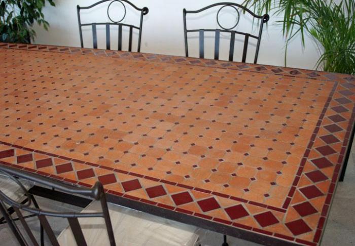 table jardin mosaique ovale 300cm table rectangle plus consoles terre cuite et losanges en. Black Bedroom Furniture Sets. Home Design Ideas