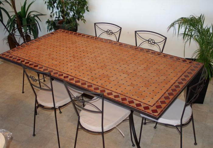 Table jardin mosaique rectangle 200cm terre cuite et losanges en c ramique rouge table jardin - Table de jardin ceramique et fer forge ...