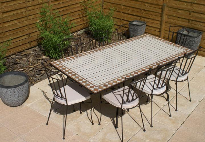 Table jardin mosaique rectangle 200cm c ramique blanche et ses losanges en argile cuite table - Table de jardin ceramique et fer forge ...