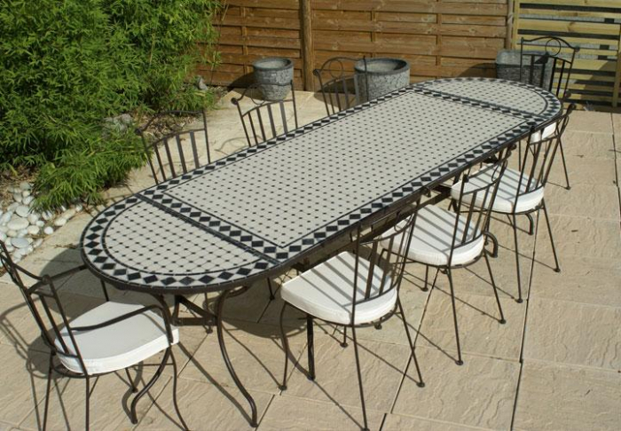 Table jardin mosaique ovale 300cm (table rectangle plus consoles) Céramique  Blanche et ses losanges en Ardoise