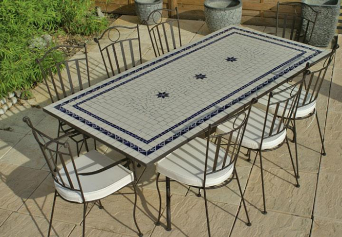 Table jardin mosaique rectangle 200cm c ramique blanche 2 for Table en fer exterieur