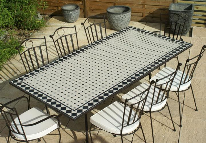 Table jardin mosaique rectangle 200cm c ramique blanche et ses losanges en ardoise table - Table de jardin ceramique et fer forge ...