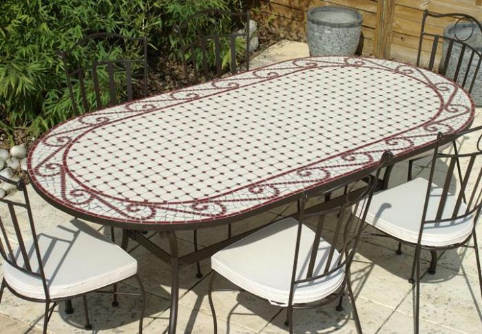Table jardin mosaique ovale 200cm Céramique blanche et ses Arabesques en  Céramique Rouge