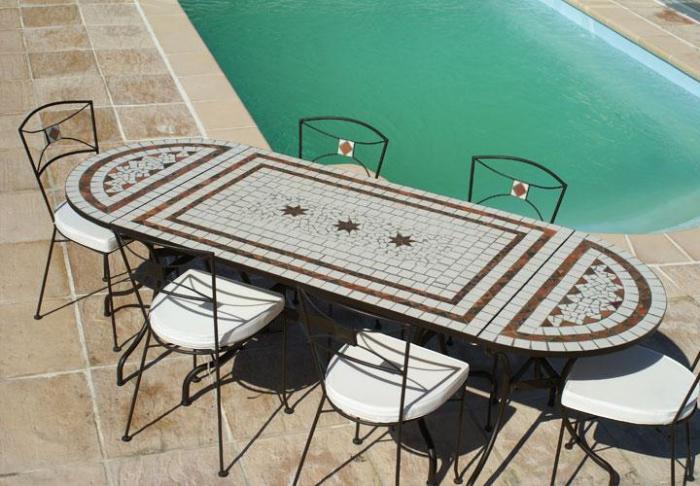 table jardin mosaique ovale 230cm table rectangle plus consoles c ramique blanche ses 2 lignes. Black Bedroom Furniture Sets. Home Design Ideas