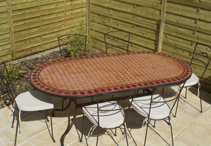 Table Jardin Mosaique Ovale 160cm Terre Cuite Et Ses Losanges Rouge Table Jardin Mosa Que