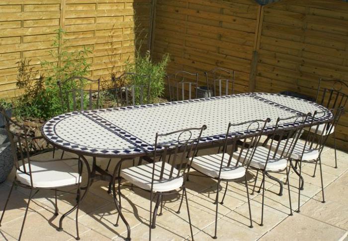 Table jardin mosaique ovale 300cm table rectangle plus consoles c ramique blanche et ses - Table de jardin fer ...