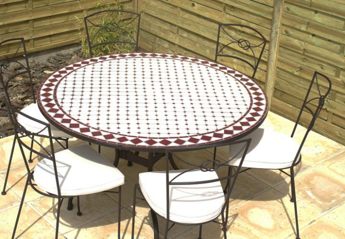 table jardin mosaique ronde 110cm c ramique blanche losange c ramique rouge table jardin mosa que. Black Bedroom Furniture Sets. Home Design Ideas