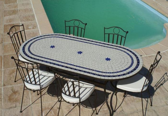 table jardin mosaique ovale 200cm c ramique blanche 2 cercles et ses 3 toiles en c ramique. Black Bedroom Furniture Sets. Home Design Ideas