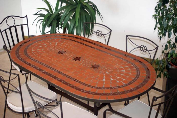 table jardin mosaique ovale 160cm terre cuite 2 lignes et ses 3 toiles rouge table jardin. Black Bedroom Furniture Sets. Home Design Ideas