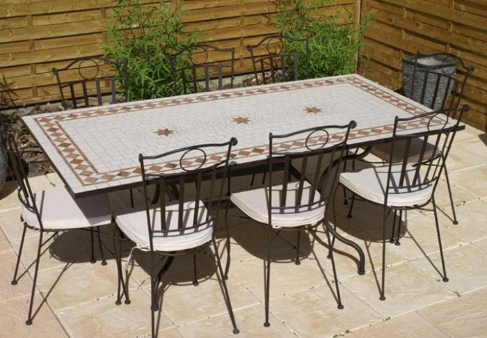 Table Jardin Mosaique Rectangle 160cm Blanche 3 Etoiles Et Ses