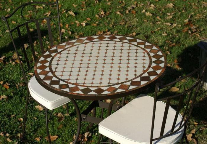 Table jardin mosaique ronde 80cm c ramique blanche losange - Table jardin mosaique ronde versailles ...