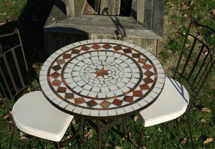 Table jardin mosaique ronde 80cm c ramique blanche losange for Salon de jardin mosaique