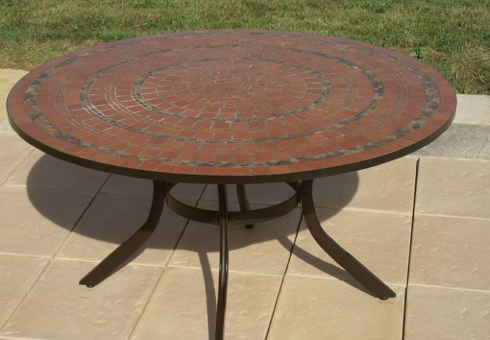 table jardin mosaique ronde 150cm terre cuite 5 cercles argile cuite table jardin mosa que. Black Bedroom Furniture Sets. Home Design Ideas