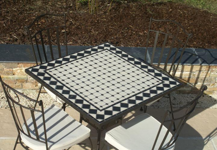 Table jardin mosaique carrée 80cm x 80 cm Céramique blanches ses losange en  Ardoise