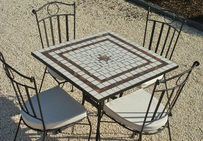 Table Jardin Mosaique Carree 80cm X 80 Cm Ceramique Blanches 2