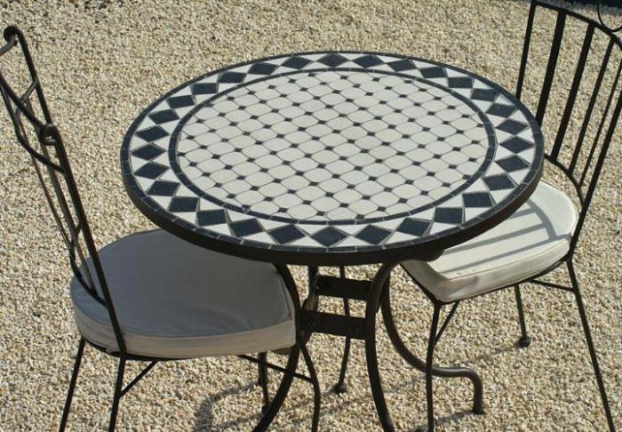 Table jardin mosaique ronde 80cm Céramique blanche losange Ardoise