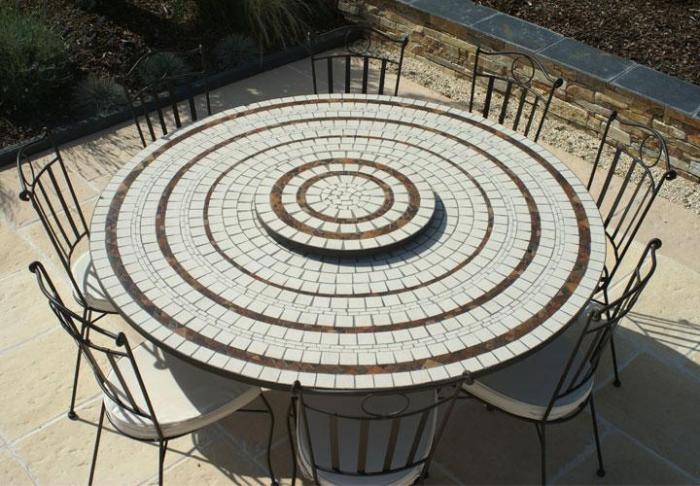 Table jardin mosaique ronde 150cm Blanc 3 cercles Argile cuite AVEC SON  PLATEAU TOURNANT