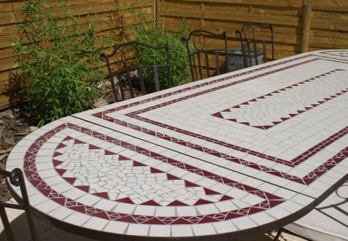Mosaique En Ceramique table jardin mosaique ovale 300cm (table rectangle plus consoles