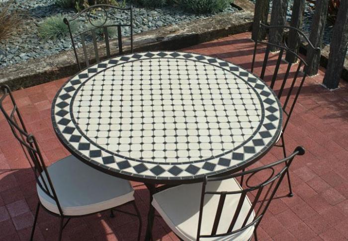 Table jardin mosaique ronde 110cm Céramique blanche losange Ardoise