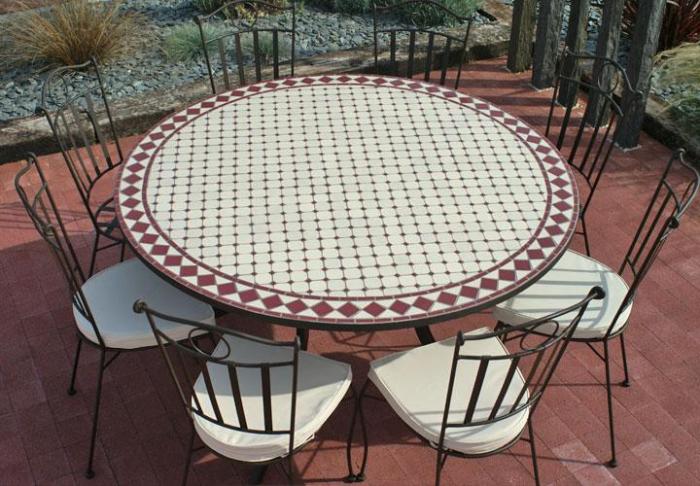 Table jardin mosaique ronde 150cm Blanc losange céramique Rouge ...