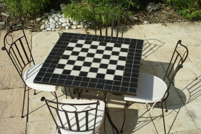 Table jardin mosaique carr e 90cm x 90 cm c ramique - Table de jardin ceramique et fer forge ...