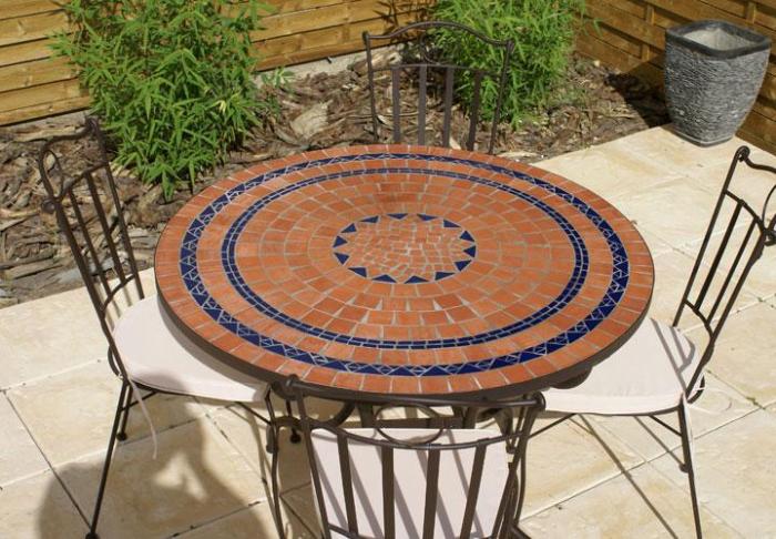 Table jardin mosaique ronde 110cm terre cuite 3 cercles - Table jardin mosaique ronde versailles ...