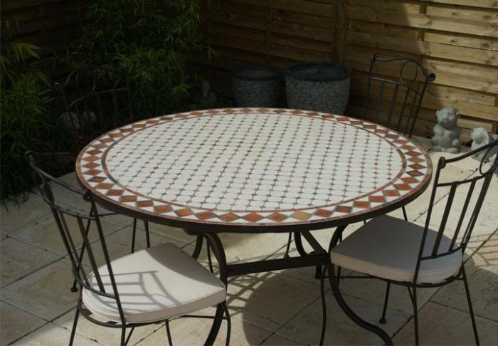 Table Jardin Mosaique Ronde 110cm C Ramique Blanche
