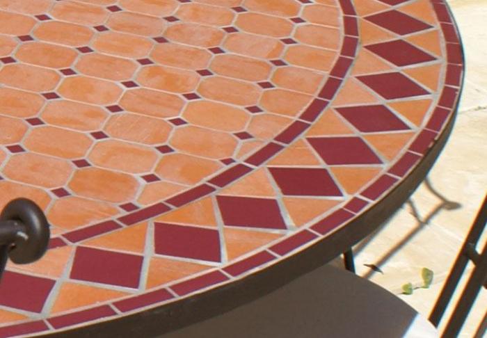 table jardin mosaique ronde 150cm terre cuite losange. Black Bedroom Furniture Sets. Home Design Ideas