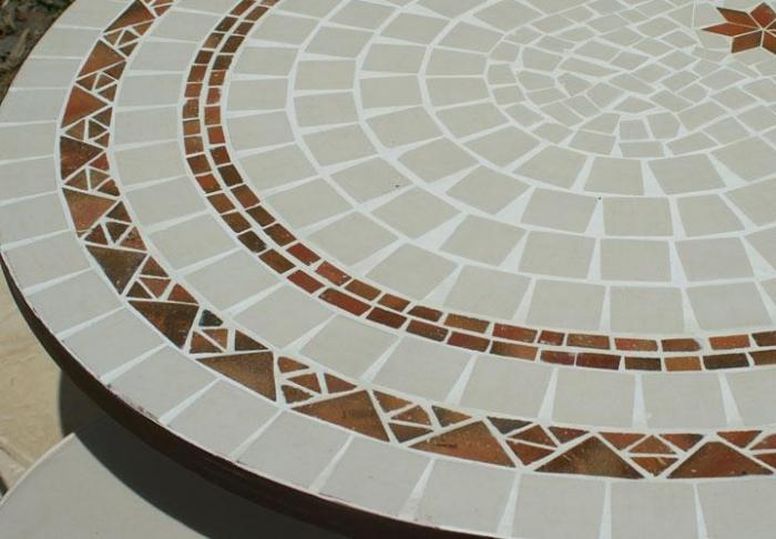 table jardin mosaique ovale 160cm c ramique blanche 2 cercles 3 toiles argile cuite table. Black Bedroom Furniture Sets. Home Design Ideas