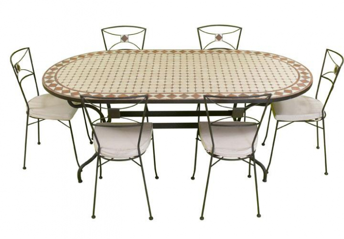 Table jardin mosaique ovale 160cm c ramique blanche et ses for Table exterieur fer forge mosaique