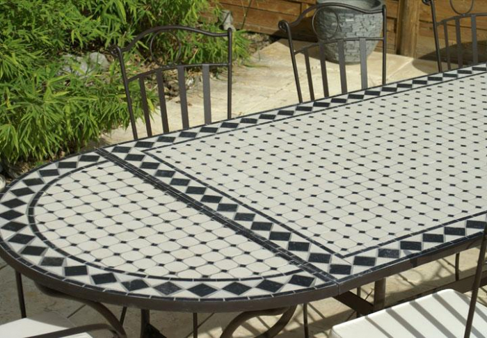 Table jardin mosaique ovale 300cm table rectangle plus consoles c ramique blanche et ses - Table de jardin ceramique et fer forge ...