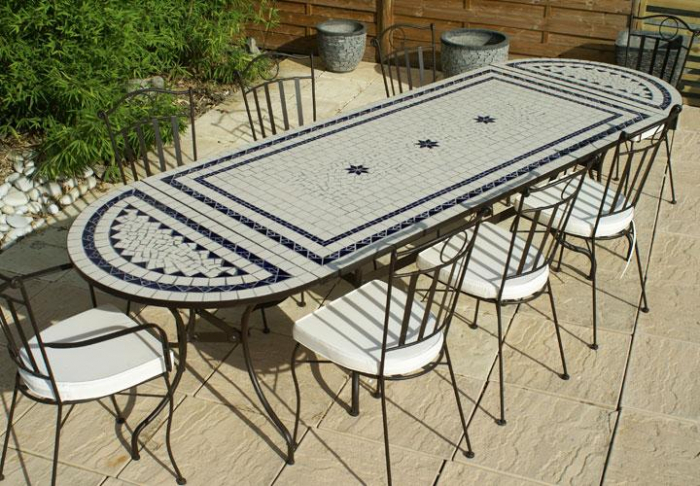 Table jardin mosaique rectangle 200cm c ramique blanche 2 lignes et ses 3 toiles en c ramique for Achat table de jardin mosaique