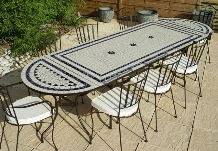 Table jardin mosaique rectangle 200cm Céramique Blanche 2 lignes et ...